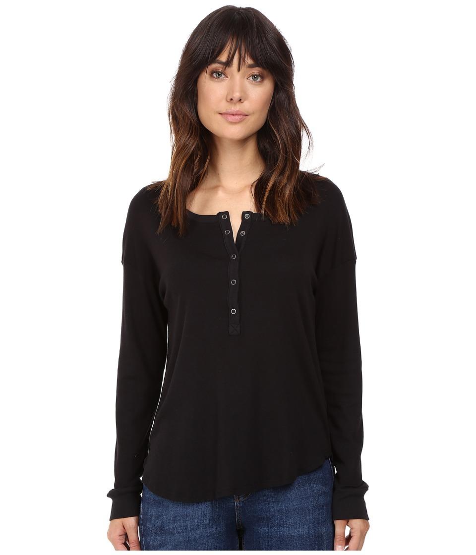 Splendid - 1X1 Henley (Black) Women's Clothing
