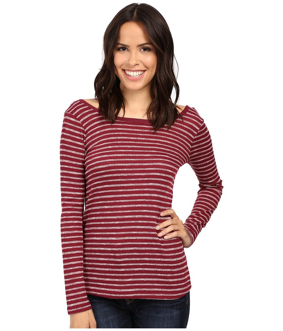 Splendid - Alline Stripe Scoop Back Tee (Cranberry) Women's Clothing