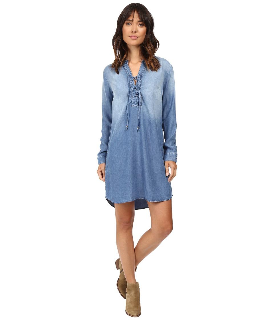 Splendid - Adelise Indigo Lace-Up Shirtdress (Medium Wash) Women's Dress