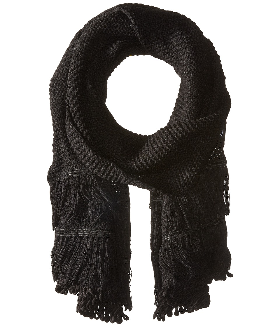 Echo Design - Solid Fringy Muffler (Black) Scarves