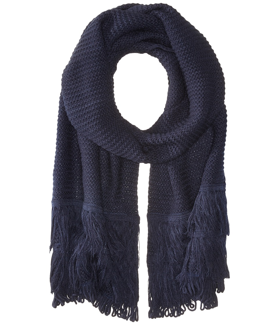 Echo Design - Solid Fringy Muffler (Navy) Scarves