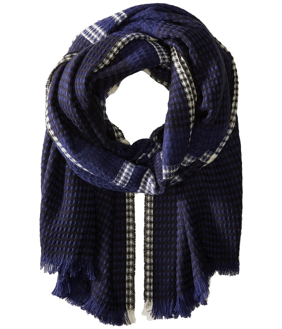 Echo Design - Diamond Plaid Wrap (Navy) Scarves