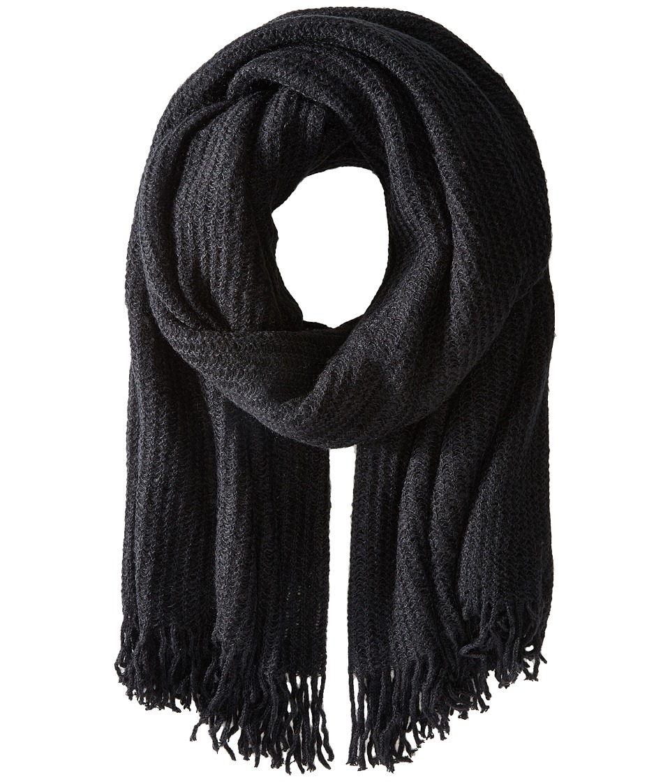 Echo Design - Open Knit Blanket Wrap (Black) Scarves