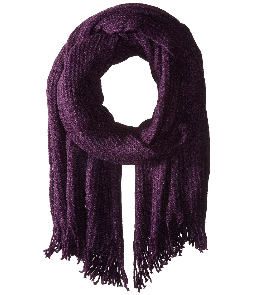 Echo Design - Open Knit Blanket Wrap (Black Plum) Scarves