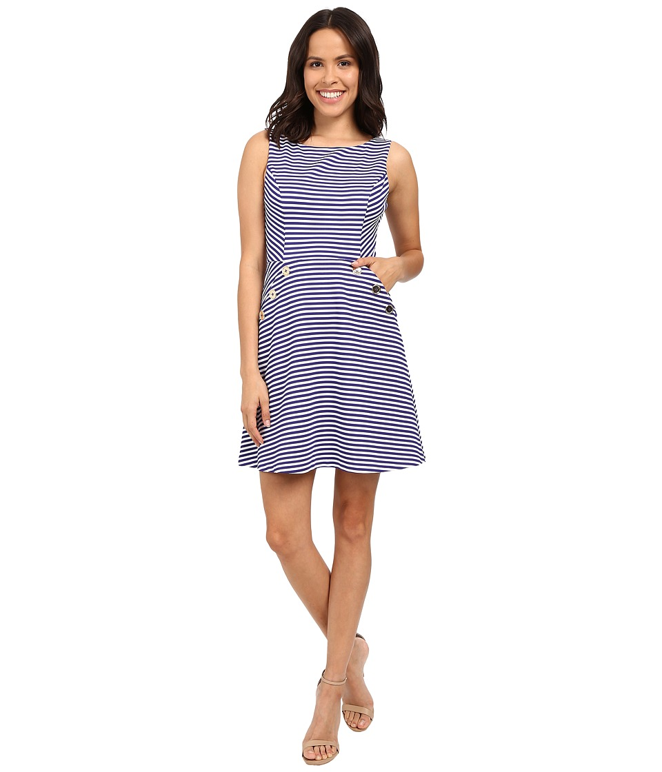 Jessica Simpson Ottoman Stripe Knit Dress JS6D8674 (White/Cobalt) Women