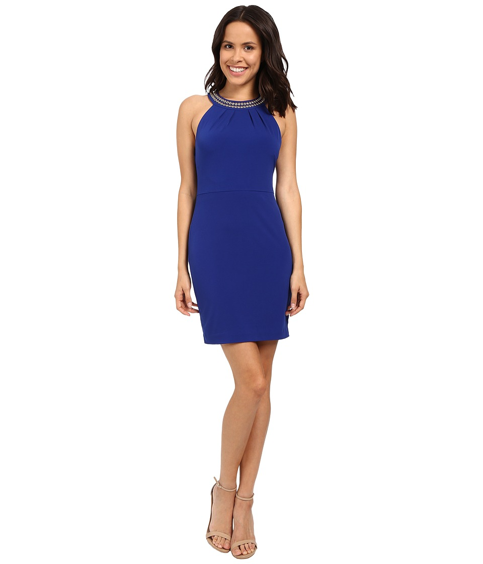Jessica Simpson Solid Dress with Neck Embellishment JS6D8653 (Cobalt) Women
