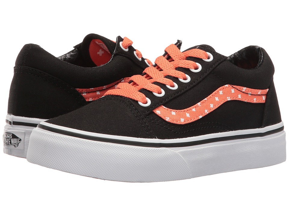 Vans Kids Old Skool (Little Kid/Big Kid) ((Plus) Black/Living Coral) Girls Shoes