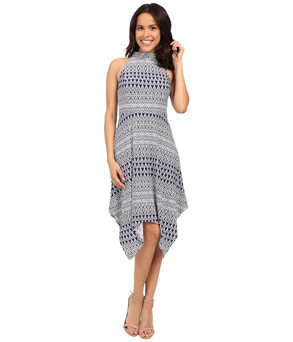 Jessica Simpson Printed Hanky Hem Dress with Mock Neck JS6D8705 (Print) Women