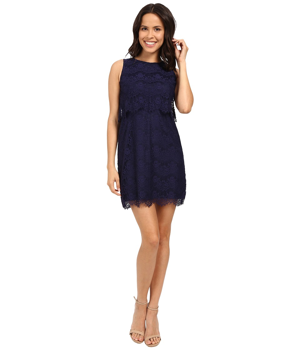 Jessica Simpson - Lace Pop Over Dress JS6D8681 (Navy) Women's Dress