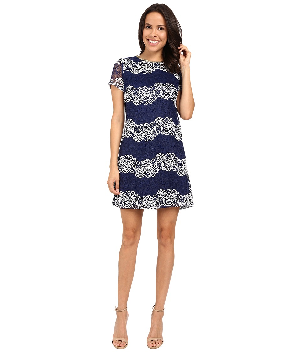 Jessica Simpson - Lace Shift Dress JS6D8624 (Navy/White) Women's Dress