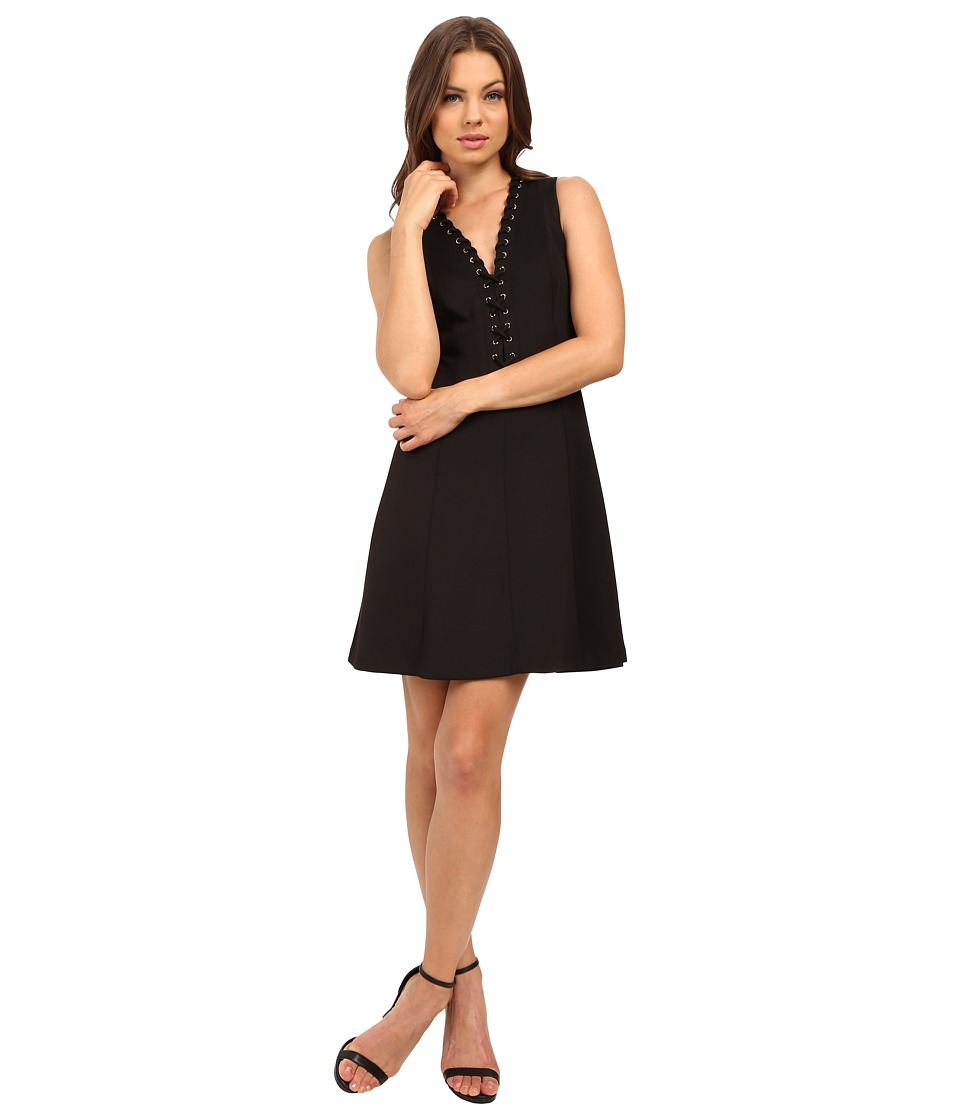 Jessica Simpson - A-Line Dress with Lace-Up V-Neck Detail JS6D8658 (Black) Women's Dress
