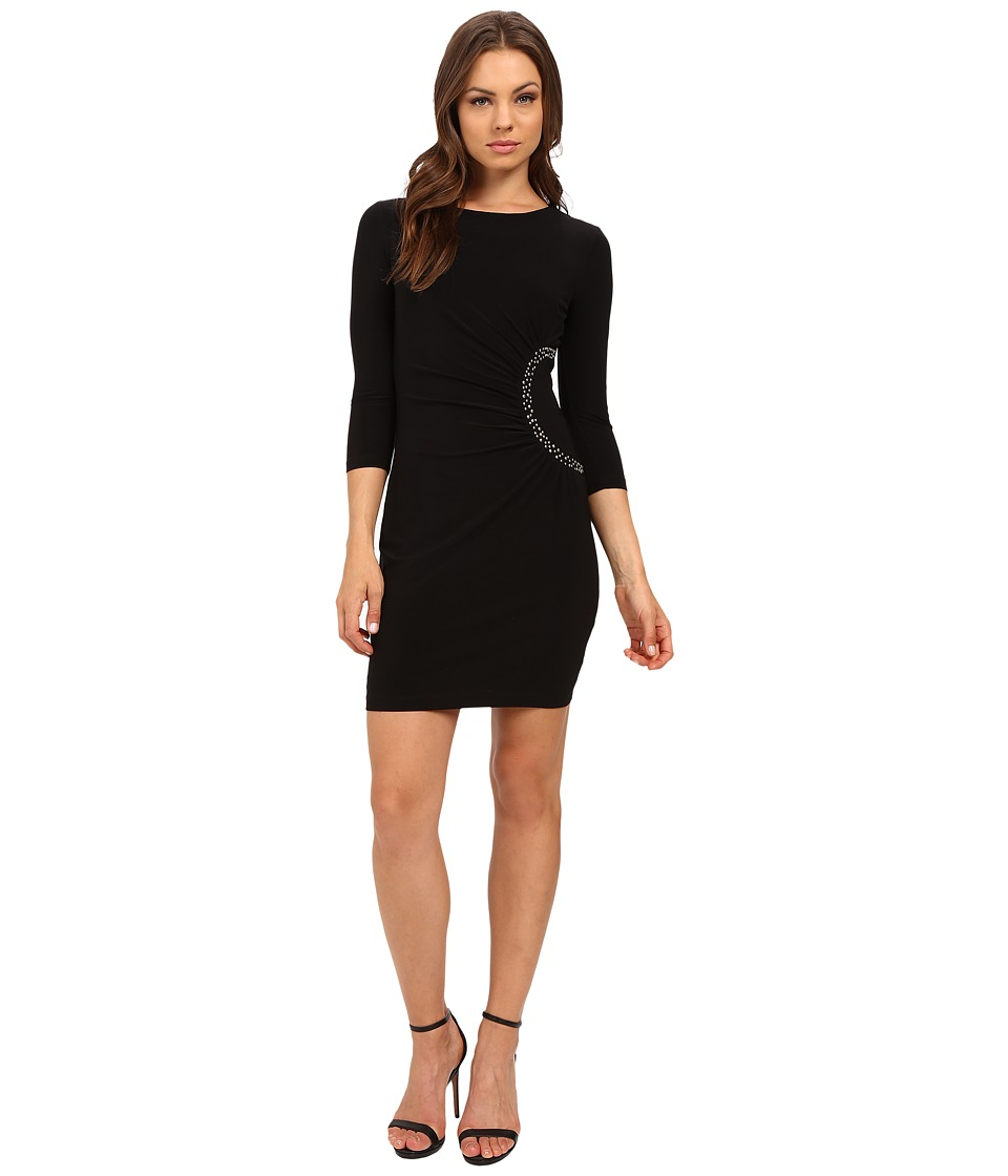 Jessica Simpson - 3/4 Sleeve Dress with Side Ruche Detail JS6D8648 (Black) Women's Dress