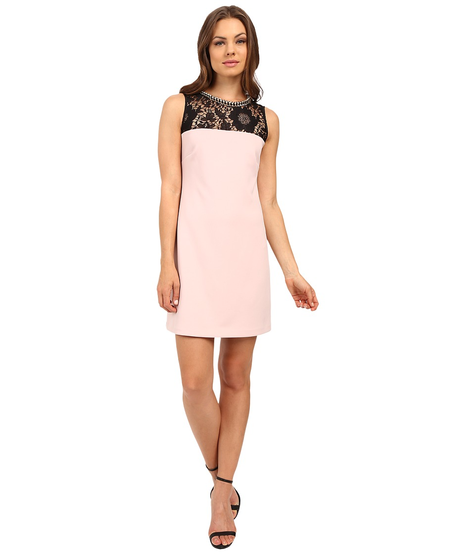 Jessica Simpson - Scuba Shift Dress with Embellished Neck Trim JS6D8676 (Black/Pink) Women's Dress