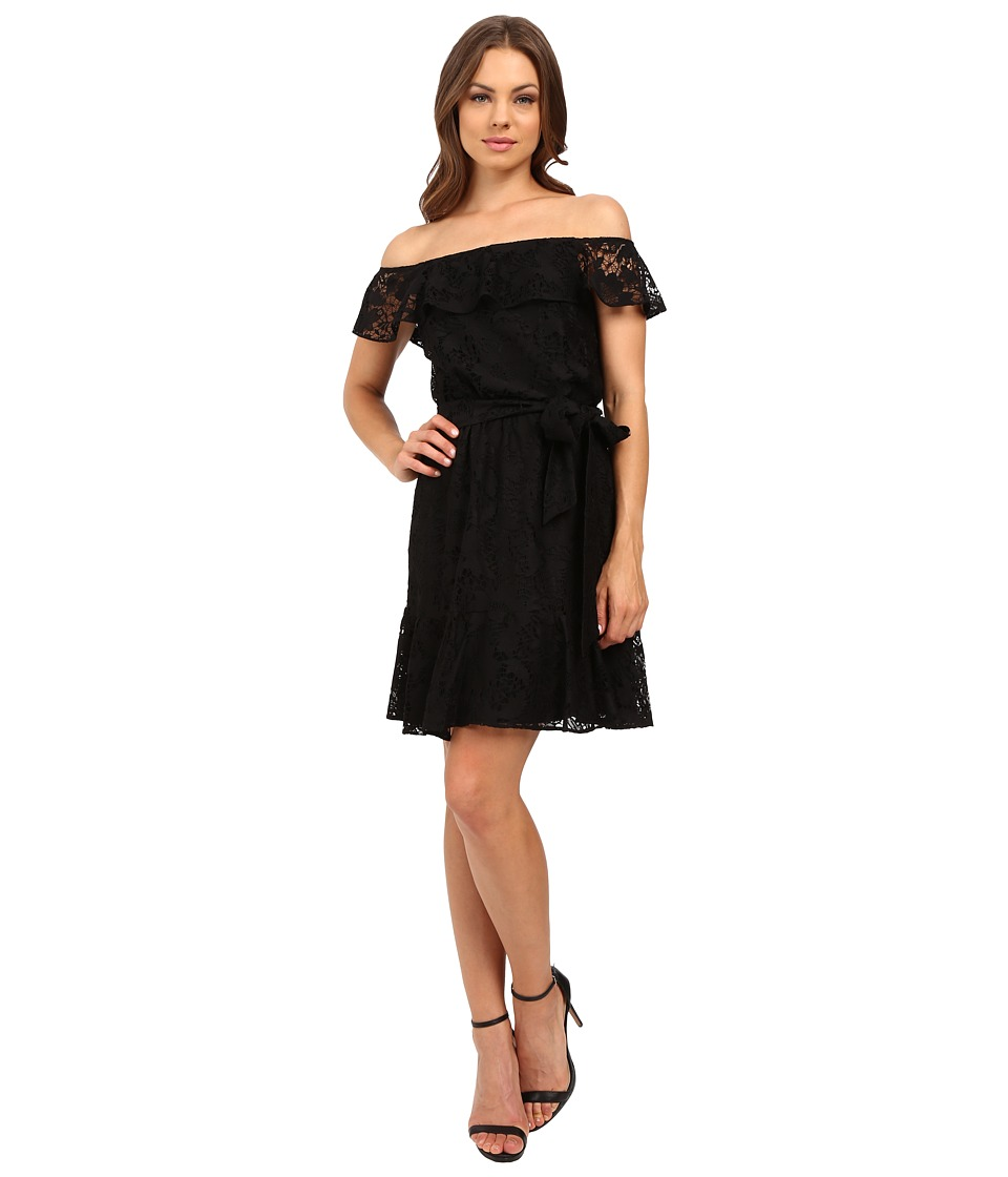 Jessica Simpson - Lace Off the Shoulder Dress JS6D8622 (Black) Women's Dress