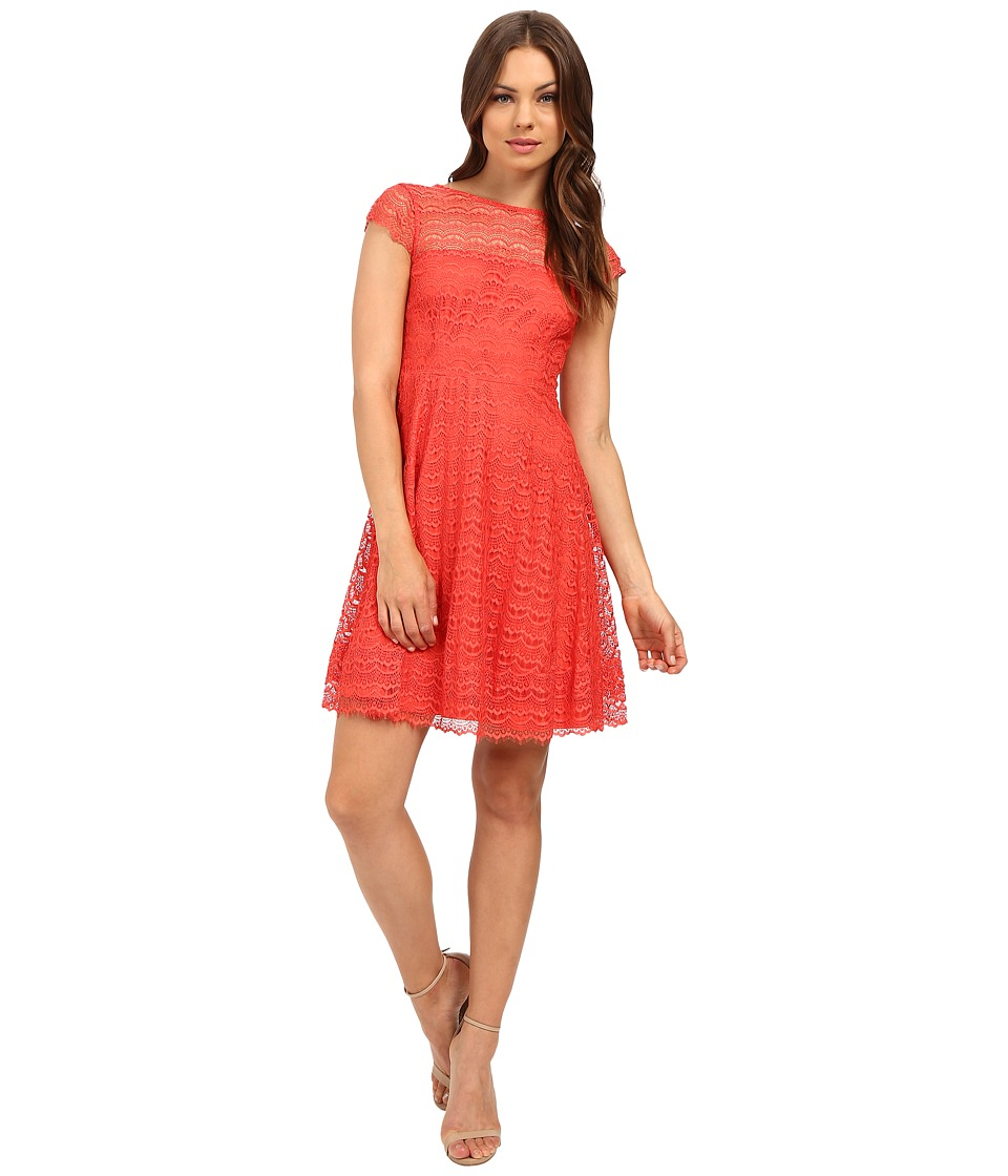 Jessica Simpson - Lace Cap Sleeve Fit Flare Dress JS6T8820 (Coral) Women's Dress