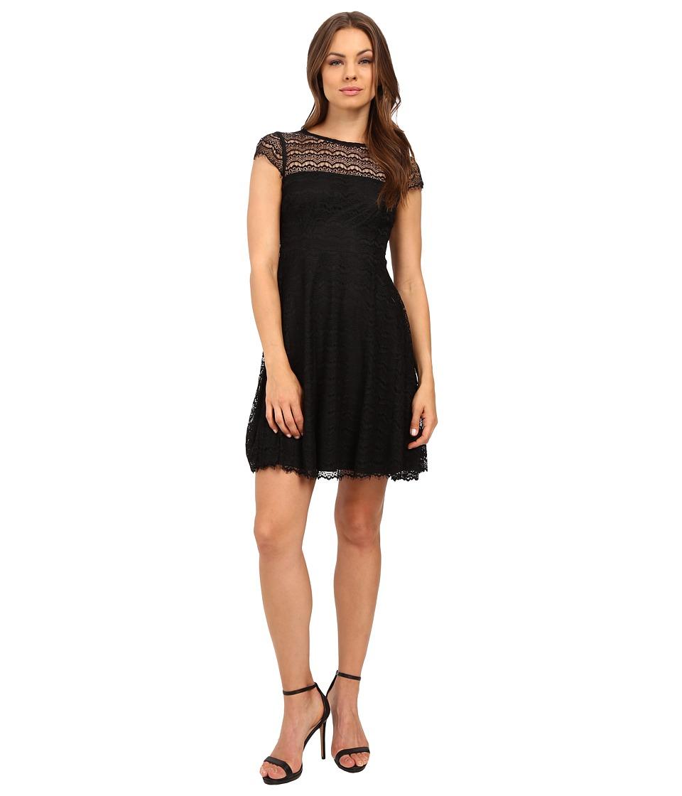 Jessica Simpson Lace Cap Sleeve Fit Flare Dress JS6T8820 (Black) Women