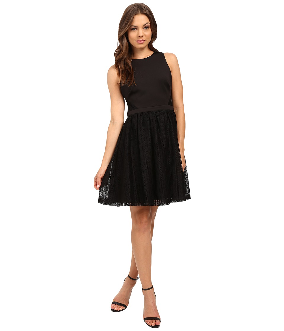 Jessica Simpson Solid Fit Flare Dress with Lace Skirt JS6D8661 (Black) Women