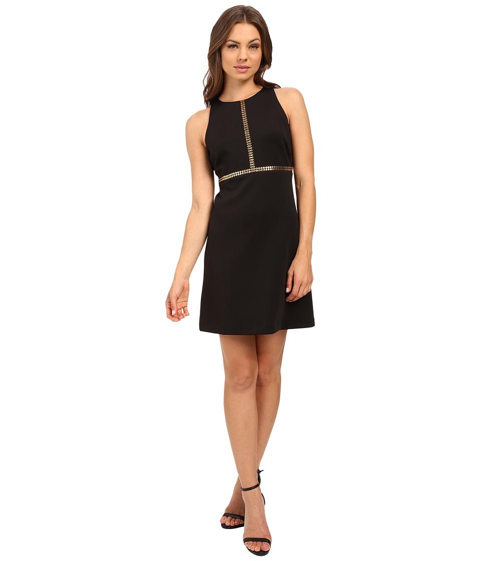 Jessica Simpson Solid A-Line Dress with Gold Stud Detail JS6D8673 (Black) Women