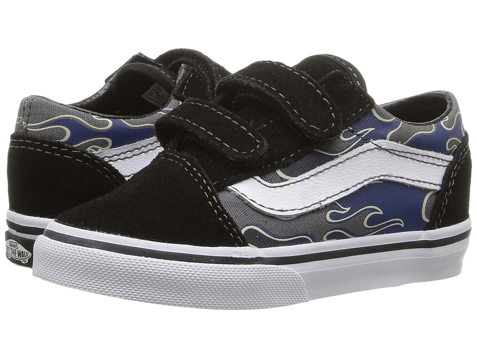 Vans Kids Old Skool V (Toddler) ((Glow Flame) True Blue/Pewter) Boys Shoes