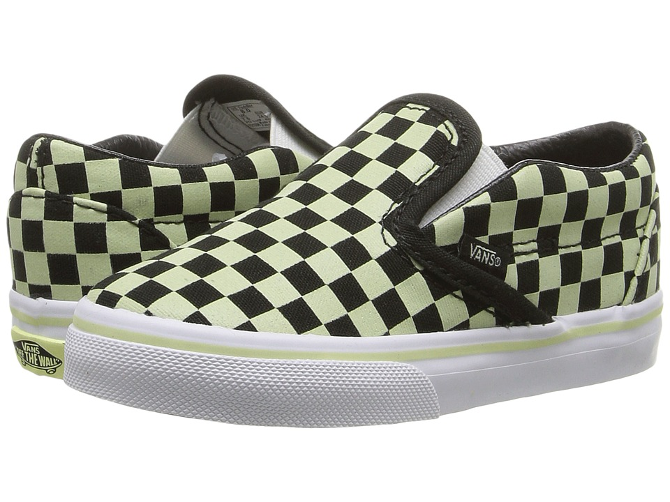 Vans Kids Classic Slip-On (Toddler) ((Glow Check) Black/True White) Boys Shoes