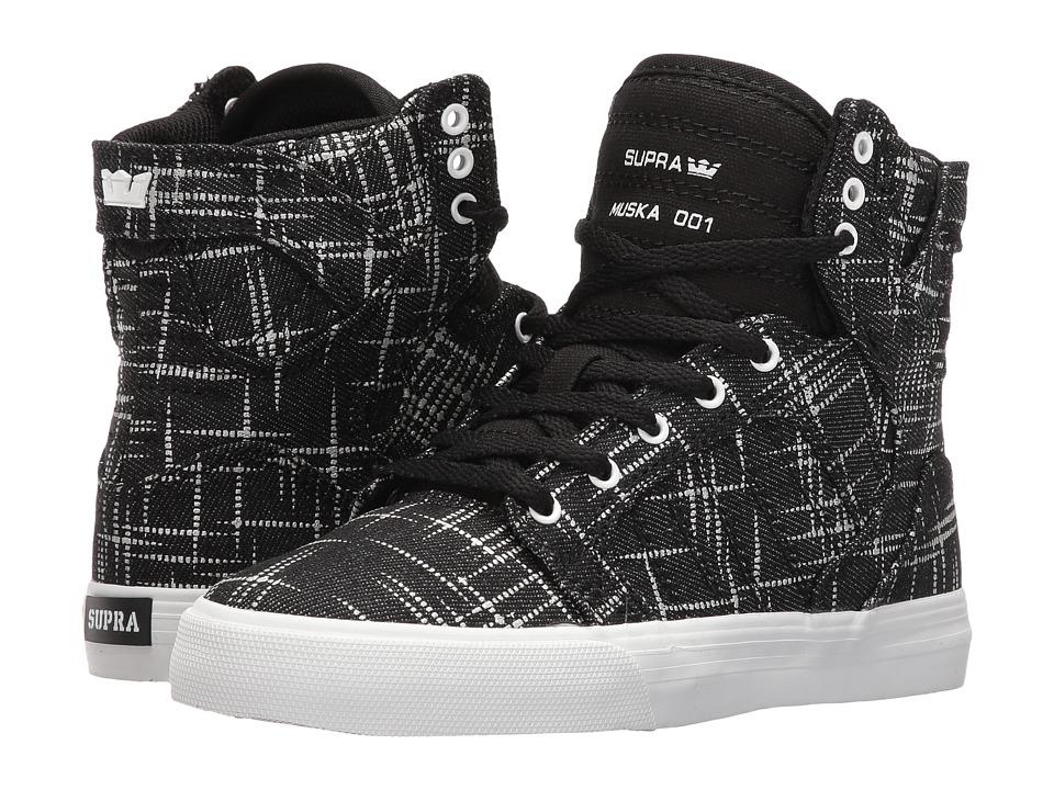 Supra Kids Skytop (Little Kid/Big Kid) (Black/Silver Printed Textile) Boys Shoes