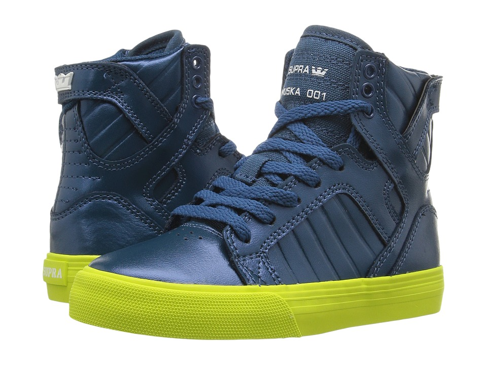 Supra Kids - Skytop (Little Kid/Big Kid) (Moroccan Blue Metallic Leather/Canvas) Boys Shoes