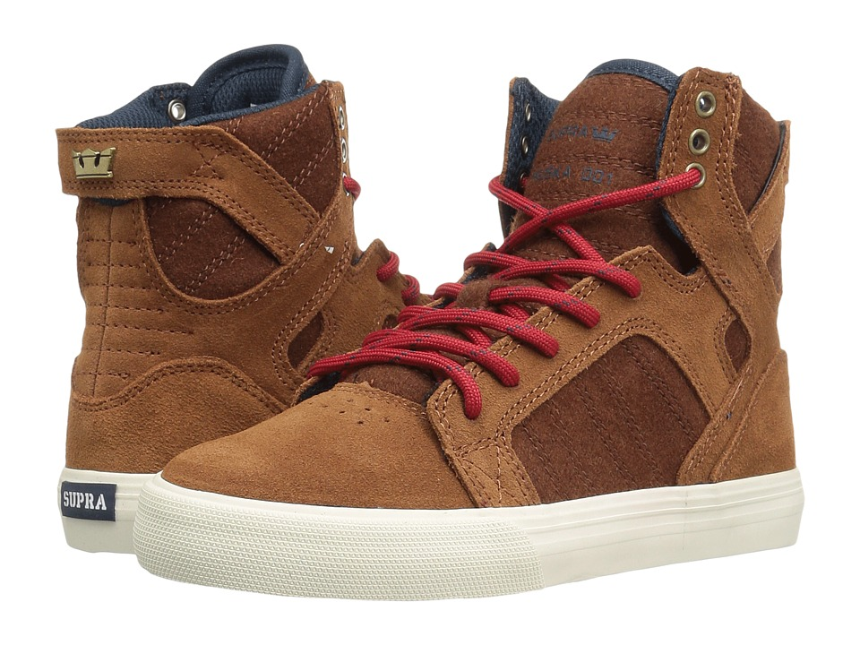 Supra Kids - Skytop (Little Kid/Big Kid) (Monk Suede/Haute Red Wool) Boys Shoes