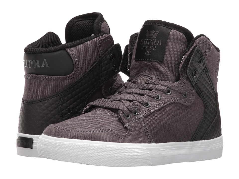 Supra Kids - Vaider (Little Kid/Big Kid) (Magnet Canvas/Black PU) Boys Shoes