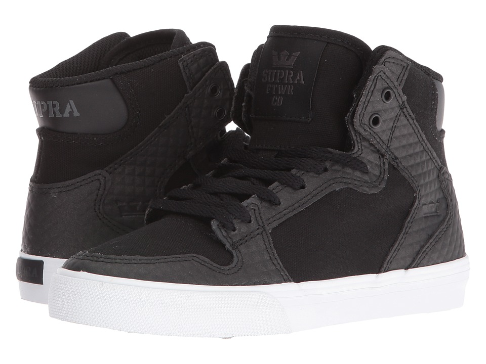 Supra Kids - Vaider (Little Kid/Big Kid) (Black Canvas/Leather) Boys Shoes