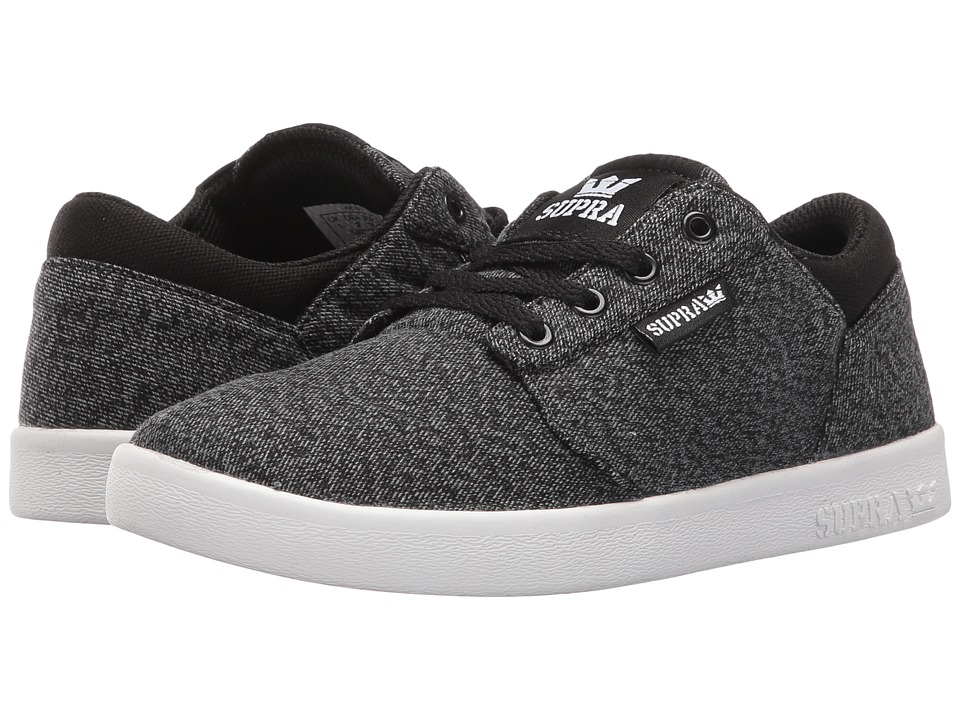 Supra Kids - Yorek Low (Little Kid/Big Kid) (Black/Grey Canvas) Boys Shoes