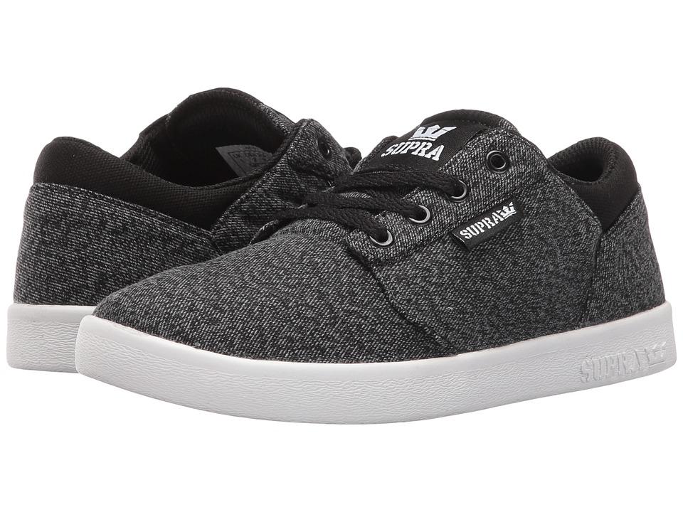 Supra Kids Yorek Low (Little Kid/Big Kid) (Black/Grey Canvas) Boys Shoes