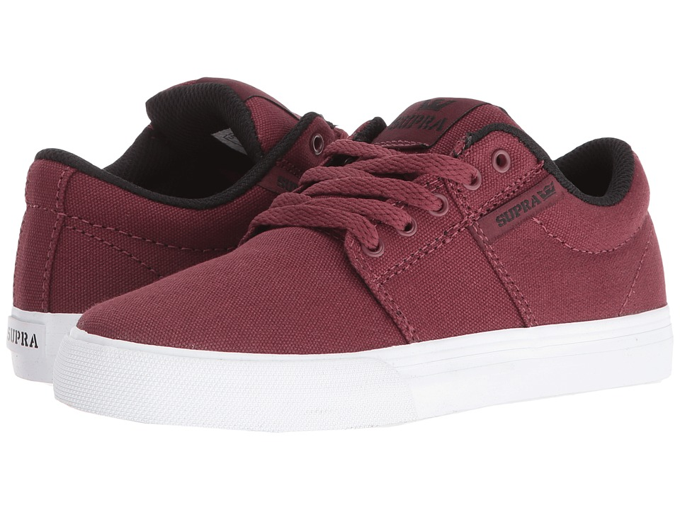 Supra Kids Stacks Vulc II (Little Kid/Big Kid) (Burgundy Canvas) Boys Shoes