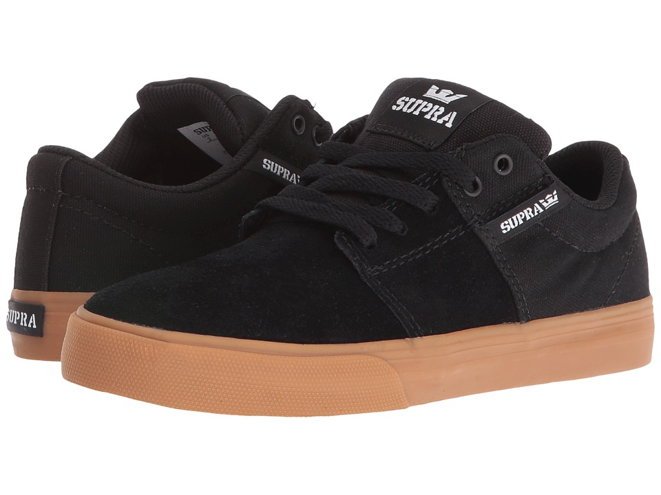 Supra Kids - Stacks Vulc II (Little Kid/Big Kid) (Black Suede/Canvas) Boys Shoes