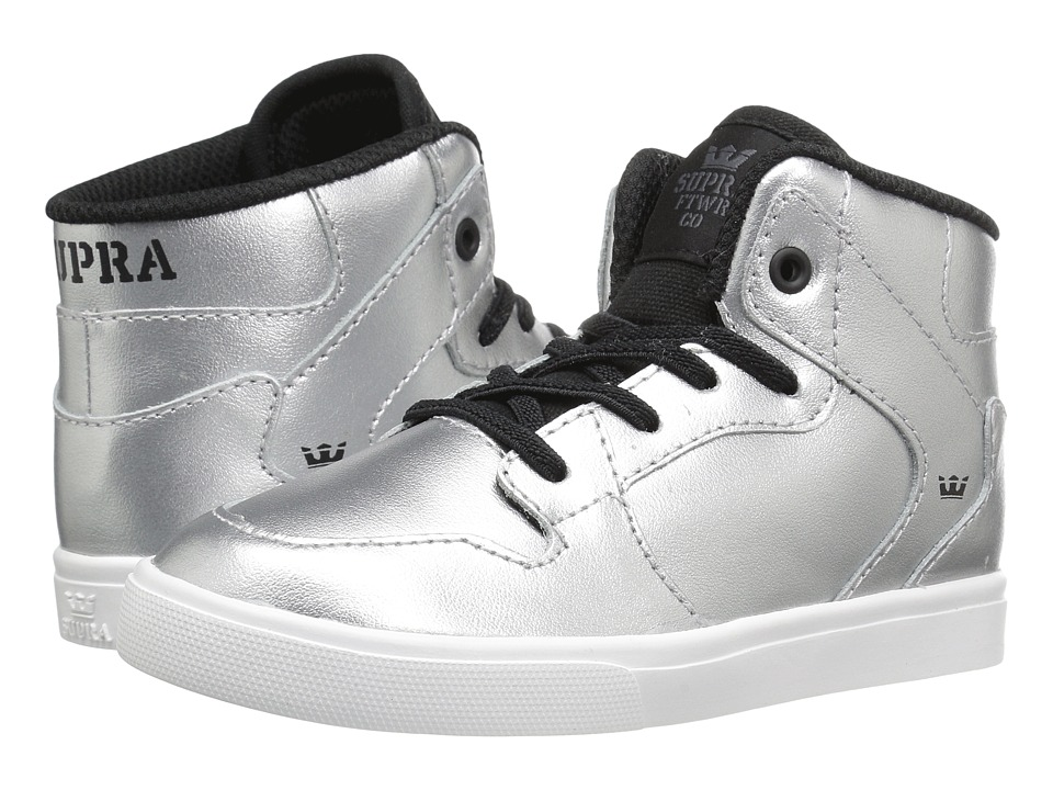 Supra Kids - Vaider (Toddler) (Metallic Silver Leather/Canvas) Boy's Shoes