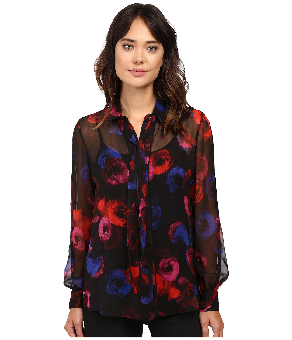 Ellen Tracy - Tie Blouse (Pop Art Floral 1) Women's Pajama