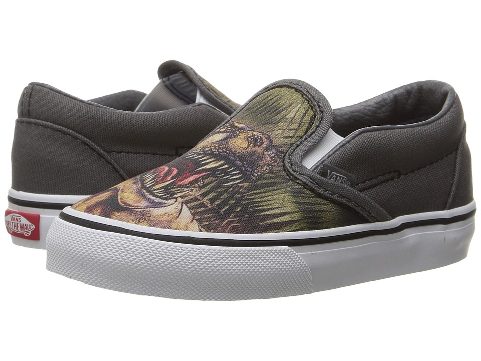 Vans Kids Classic Slip-On (Toddler) ((T-Rex) Pewter/True White) Boys Shoes