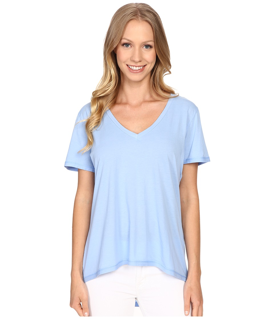 The Beginning Of - Olivia V-Neck High-Low Tee (French Blue) Women's Short Sleeve Pullover