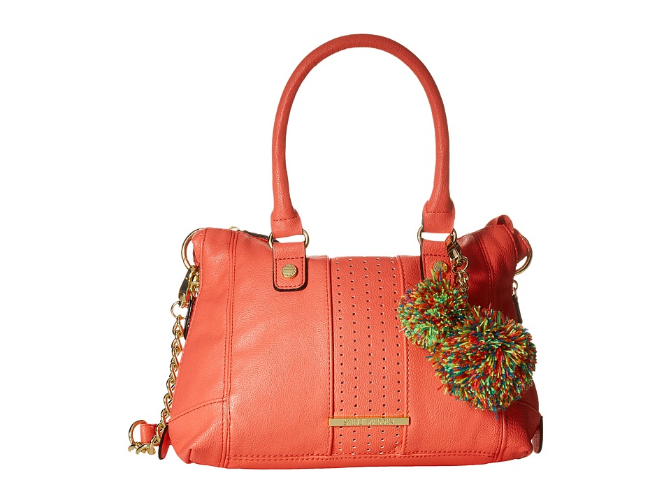 Steve Madden - Mini Social with Pom Poms (Coral) Satchel Handbags