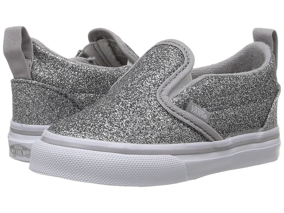 Vans Kids - Slip-On V (Toddler) ((Shimmer) Silver) Girls Shoes