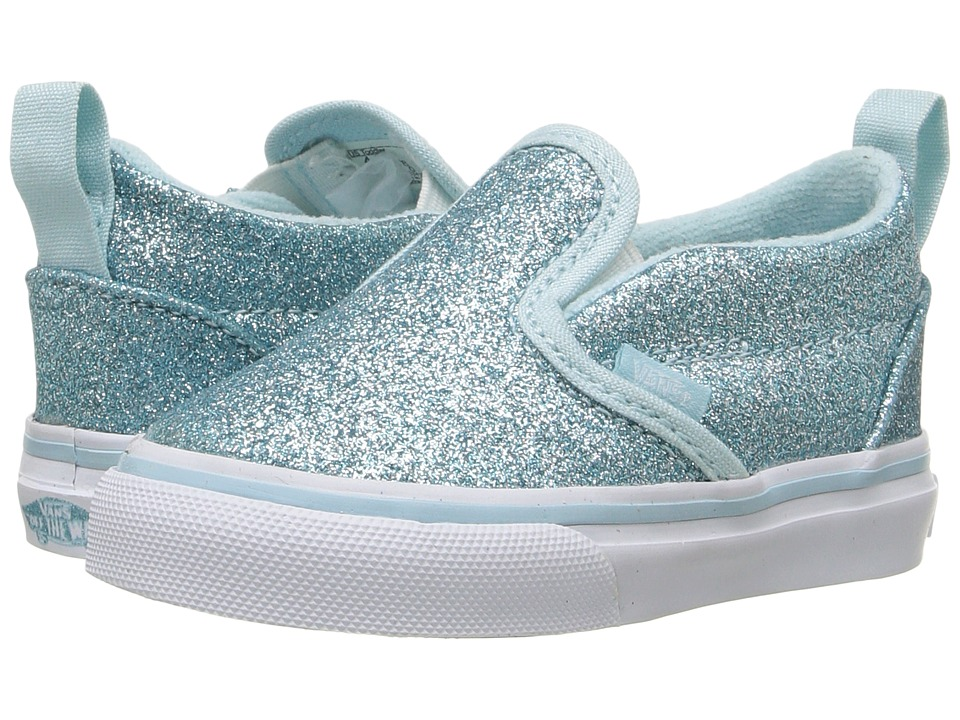 Vans Kids - Slip-On V (Toddler) ((Shimmer) Blue) Girls Shoes