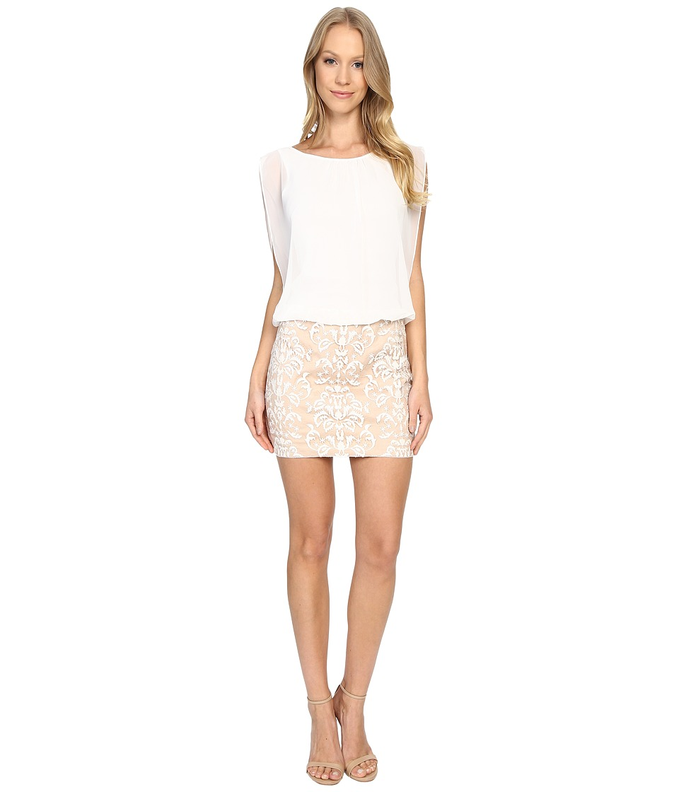 Image of Aidan Mattox - Blouson Cocktail Dress with Embroidered Skirt (Ivory/Nude) Women's Dress