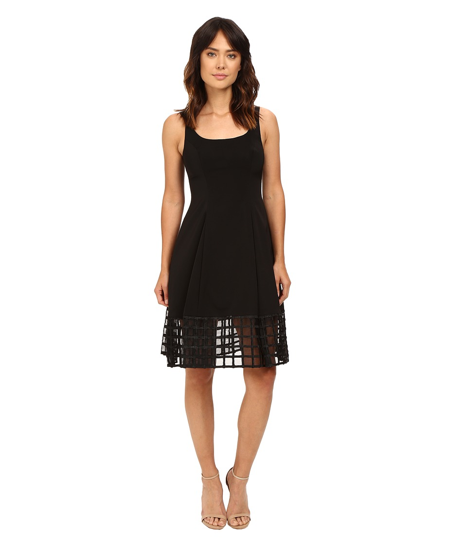 Aidan Mattox Stretch Tank Dress with Beaded Illusion Hem Detail (Black) Women