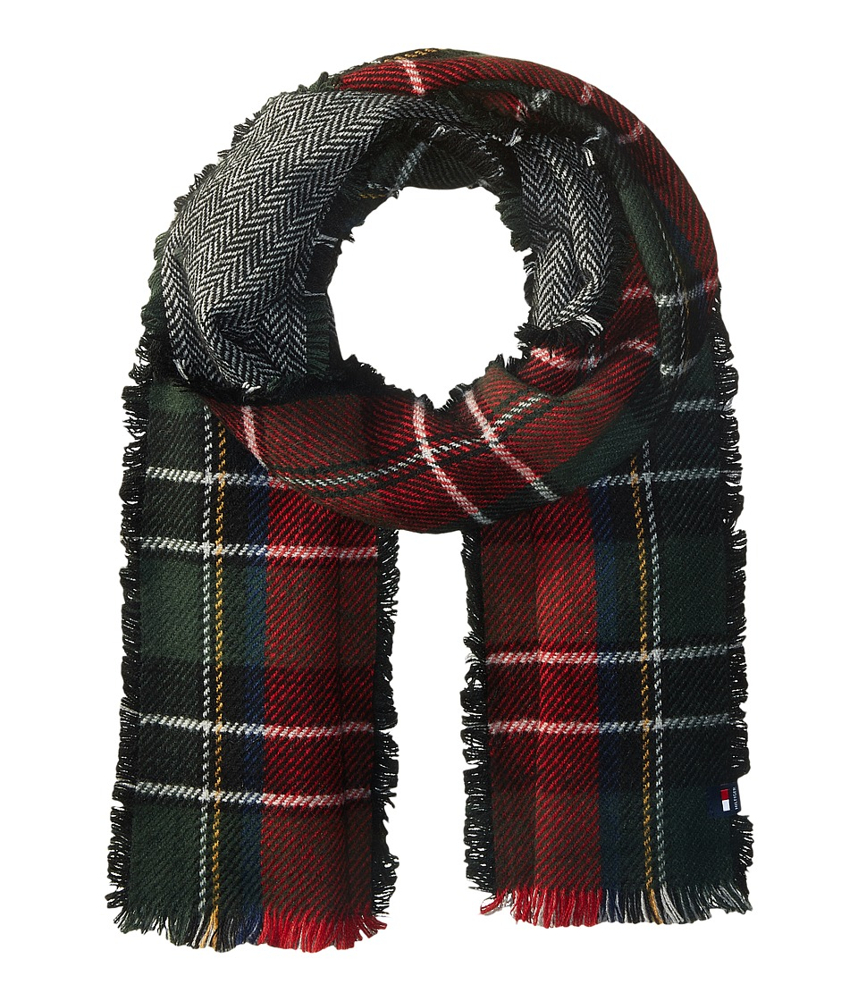 Tommy Hilfiger - Reversible Herringbone Tartan (Green) Scarves
