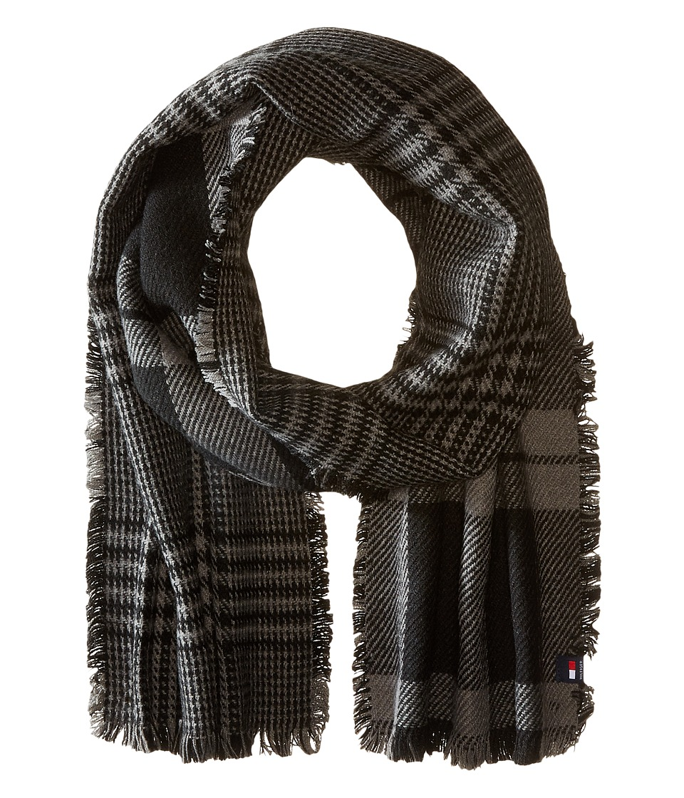 Tommy Hilfiger - Bi Color Reversible Houndstooth Tartan (Charcoal) Scarves