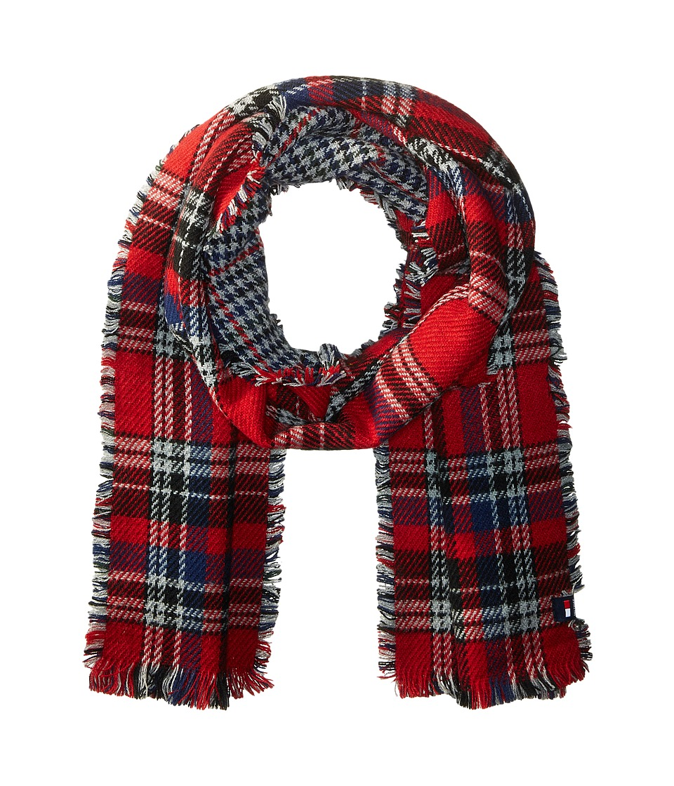 Tommy Hilfiger - Reversible Houndstooth Tartan (Red) Scarves