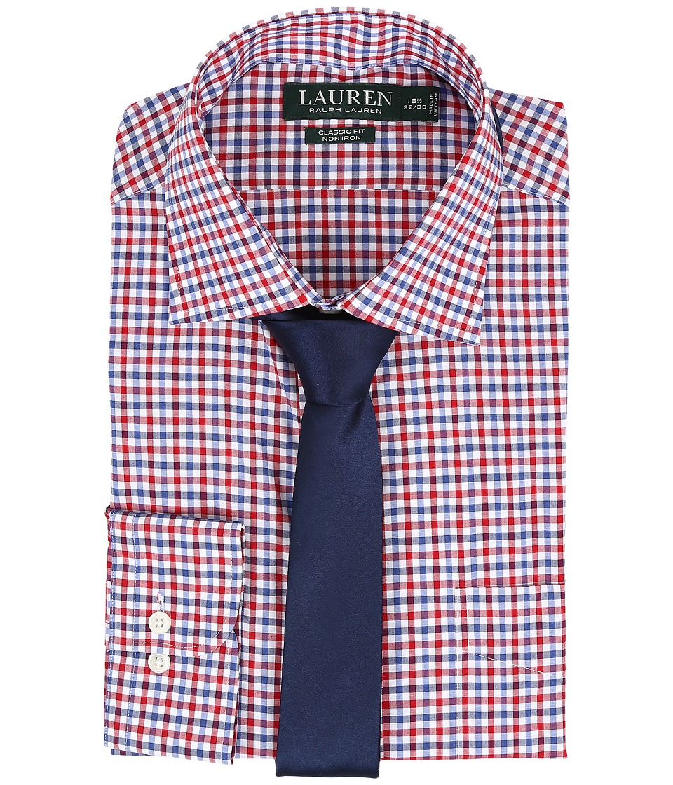 LAUREN Ralph Lauren - Classic Warren Collar with Pocket Dress Shirt (White/Red/Sky/Navy) Men's Long Sleeve Button Up