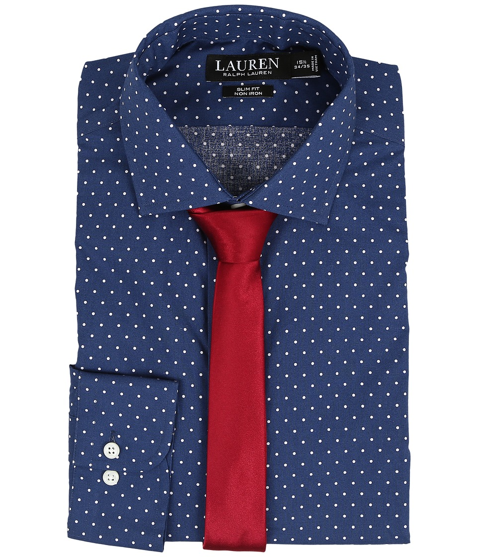 LAUREN Ralph Lauren - Slim Estate Collar (Navy/Cream Dot) Men's Long Sleeve Button Up