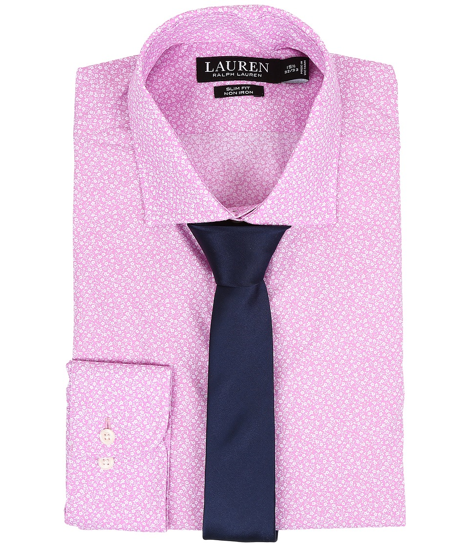 LAUREN Ralph Lauren - Slim Estate Collar (Pink Floral) Men's Long Sleeve Button Up