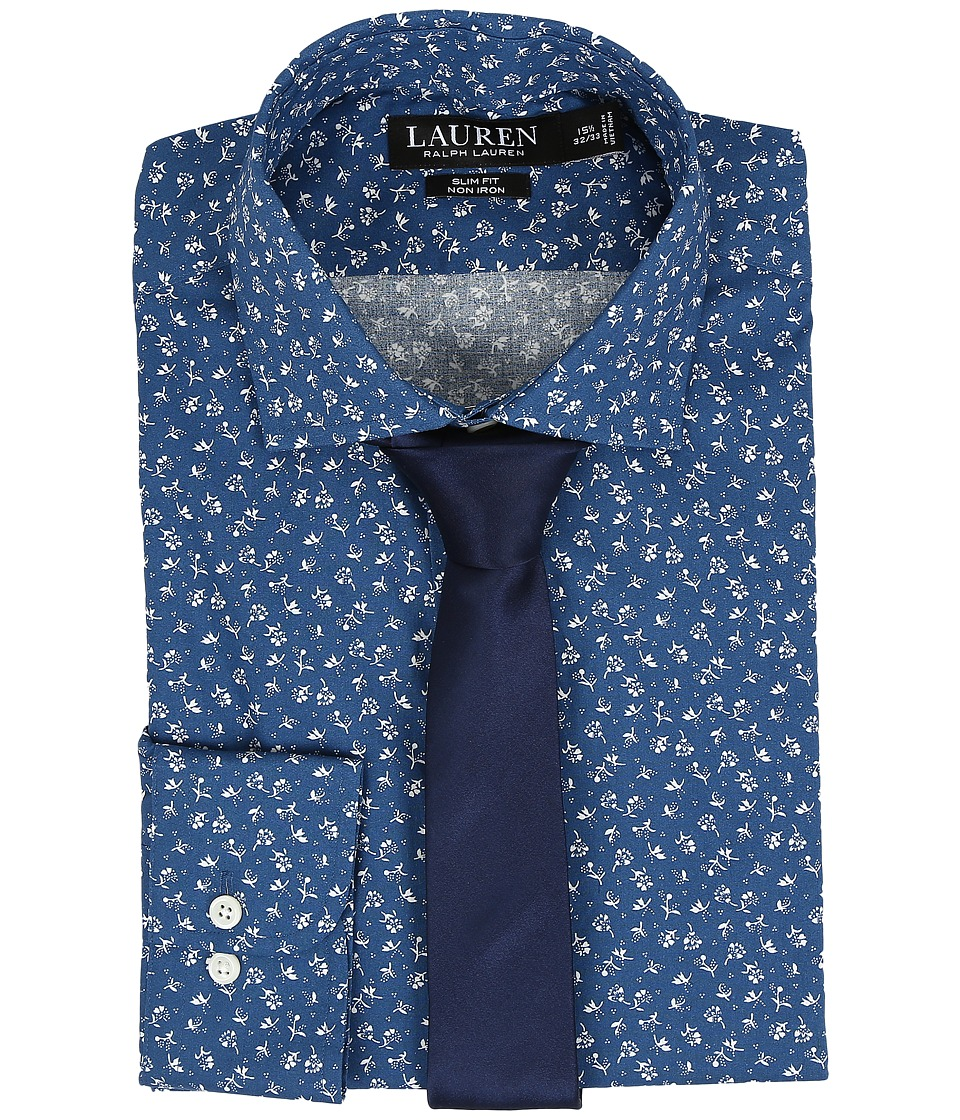 LAUREN Ralph Lauren - Slim Estate Collar (Navy/Blue) Men's Long Sleeve Button Up
