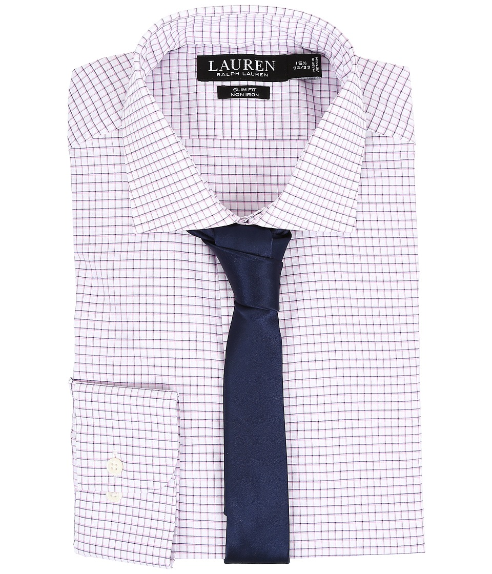 LAUREN Ralph Lauren - Slim Estate Collar (White/Pink/Bond) Men's Long Sleeve Button Up